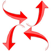 Red curve arrows