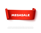 Red curved paper ribbon banner with rolls and text MegaSALE