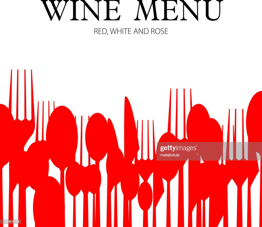 Red cutlery silhouette decor on wine menu card template