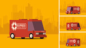 Red Delivery Truck on City Landscape Background. IsoFlat Styled Vector Illustration.