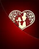 red design with a loving couple inside the heart
