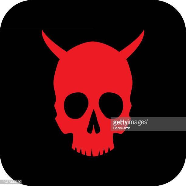 ilustrações de stock, clip art, desenhos animados e ícones de red devil skull icon - cyberbullying