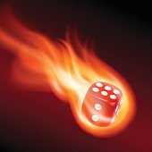 Red dice in fire
