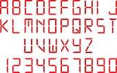 Red digital font