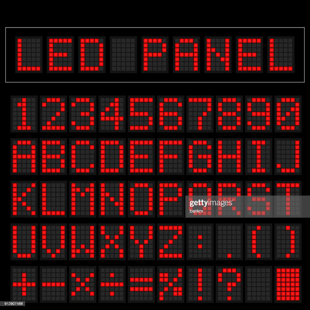 Red digital squre led font display with sample panel