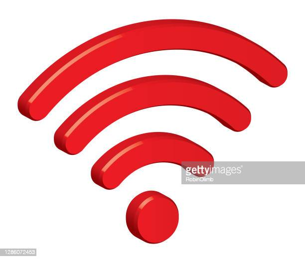 red dimensional wireless icon - wireless technology stock illustrations
