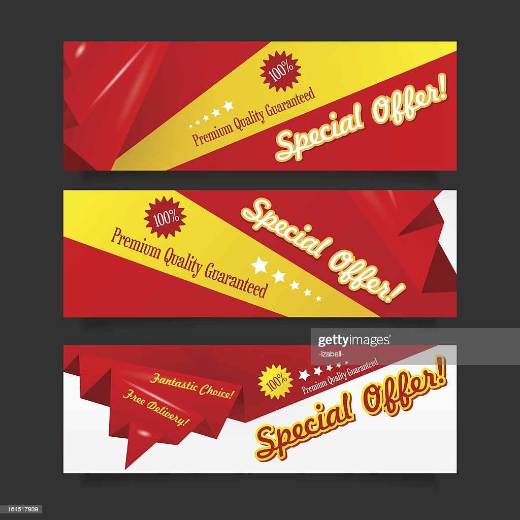 Red discount origami banner collection