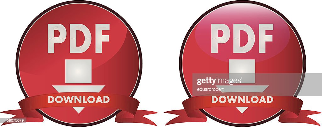 Red download pdf button with ribbon