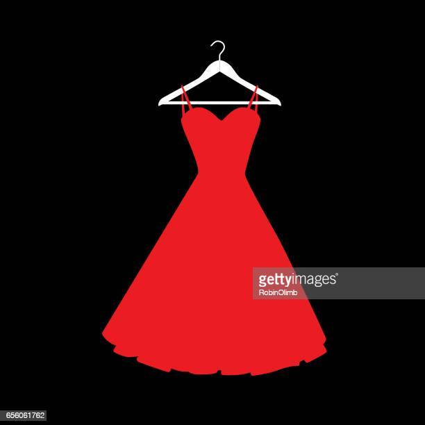 red dress on hanger icon - evening gown stock illustrations