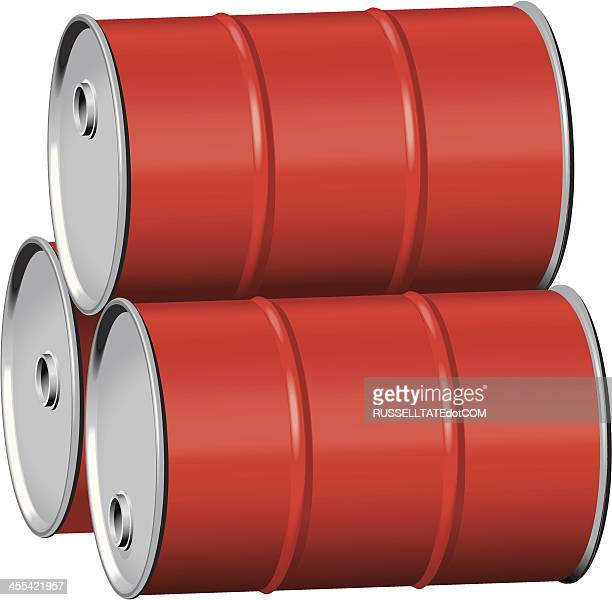red drums on side - oil drum stock illustrations, clip art, cartoons, & icons