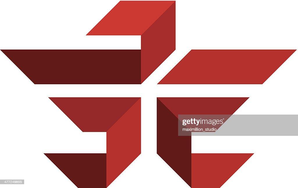 Red eagle cross flying logo illustration