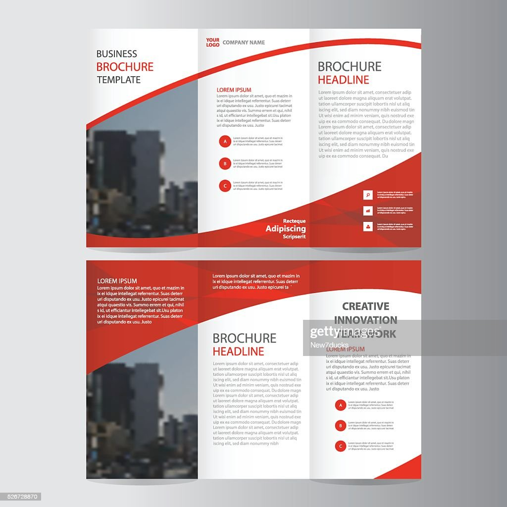 Red elegance business trifold business Leaflet Brochure Flyer layout template
