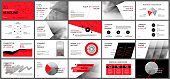 Red elements for presentation templates.