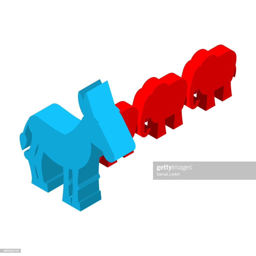 Red Elephants Against Blue Donkey Symbols Of Usa Political Party