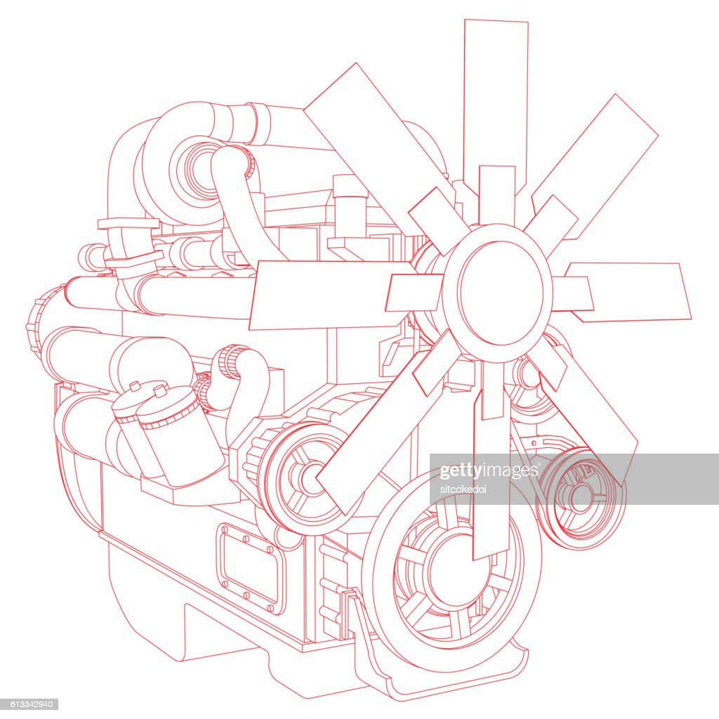 Red engine line drawing