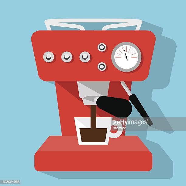 Red Espressomaschine Symbol auf blauem Hintergrund