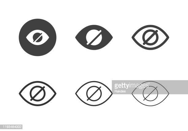 illustrazioni stock, clip art, cartoni animati e icone di tendenza di icone di riduzione degli occhi rossi - serie multi - guardare il paesaggio