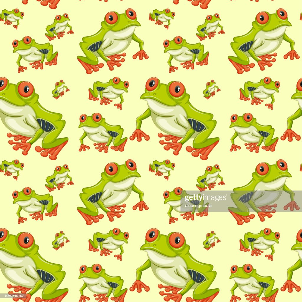 Red eyed tree frog seamless pattern