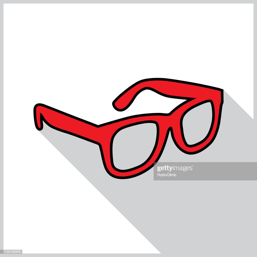 Red Eyeglasses Shadow Icon : stock illustration