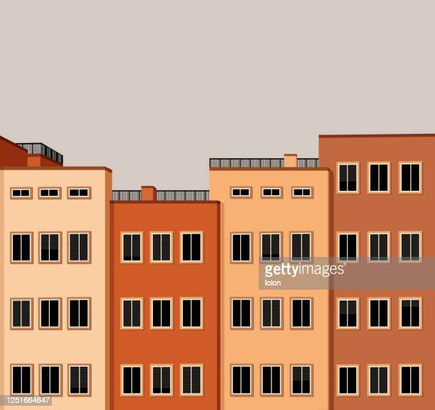red facades - apartment stock illustrations