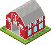 Red Farm House Isometric View. Vector