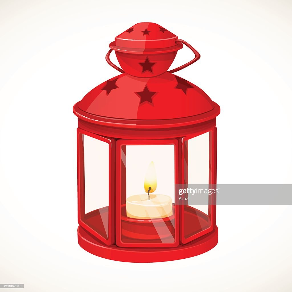Red festive lantern with a candle inside