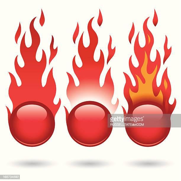 ilustraciones, imágenes clip art, dibujos animados e iconos de stock de fireballs rojo - llamas de fuego