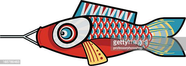 red fish kite - kite toy stock illustrations, clip art, cartoons, & icons