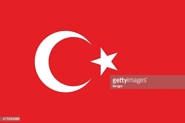 red flag of turkey with white symbol - flag stock illustrations