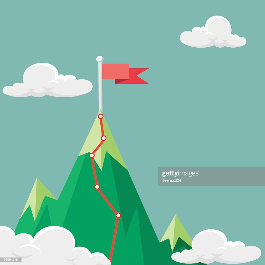 Red flag on the mountain peak. Hiking trail