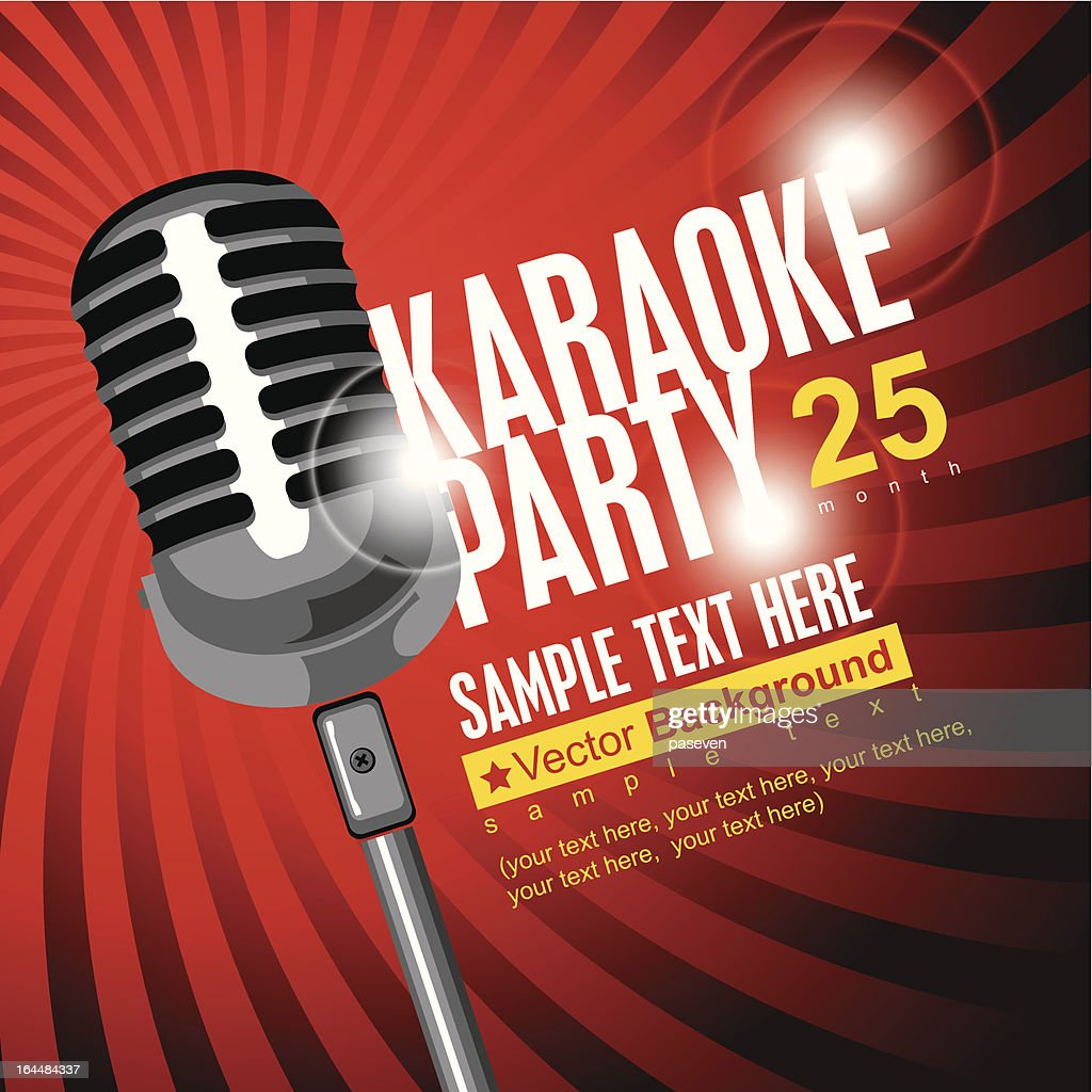 Red flier template for karaoke party with microphone