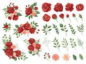 Red floral bouquet. Burgundy rose flower, vintage roses bouquets and spring flowers vector illustration set