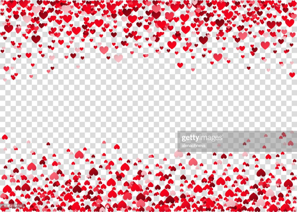 Red flying heart confetti.