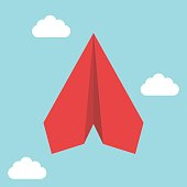 Red flying paper plane