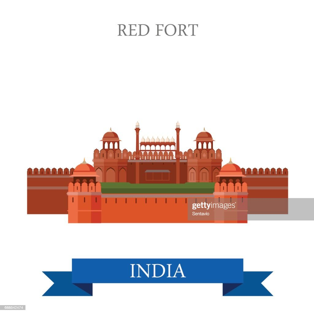 Red Fort in New Dehli, India. Flat cartoon style historic sight showplace attraction web site vector illustration. World countries cities vacation travel sightseeing Asia collection.