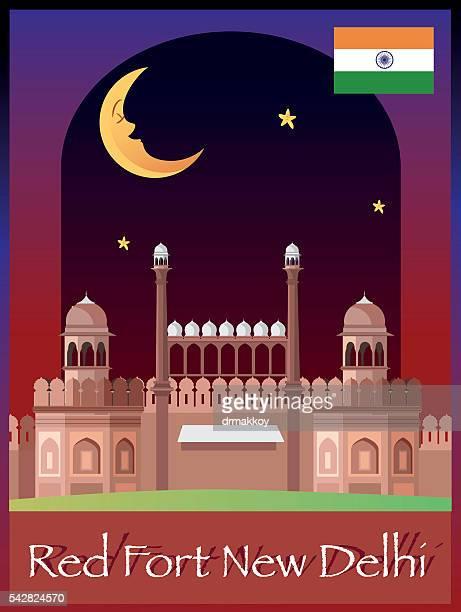 red fort new delhi - sandstone stock illustrations, clip art, cartoons, & icons