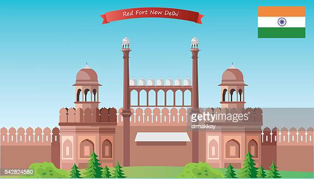red fort - agra fort stock illustrations