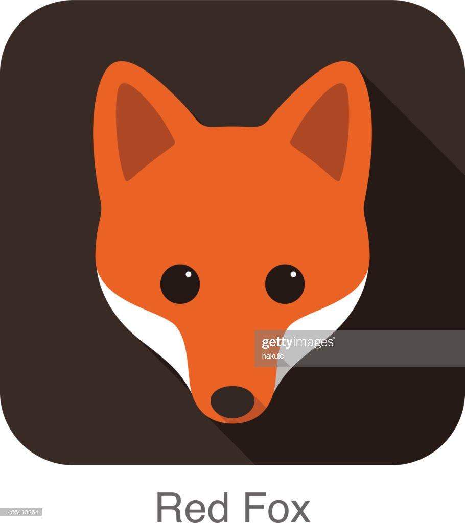 Red fox cartoon face, flat icon design
