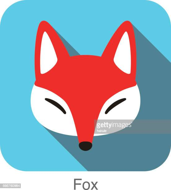 Red fox cartoon face, flat icon design