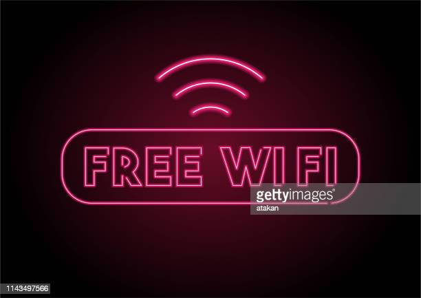 red free wi fi icon neon light on black wall - free of charge stock illustrations