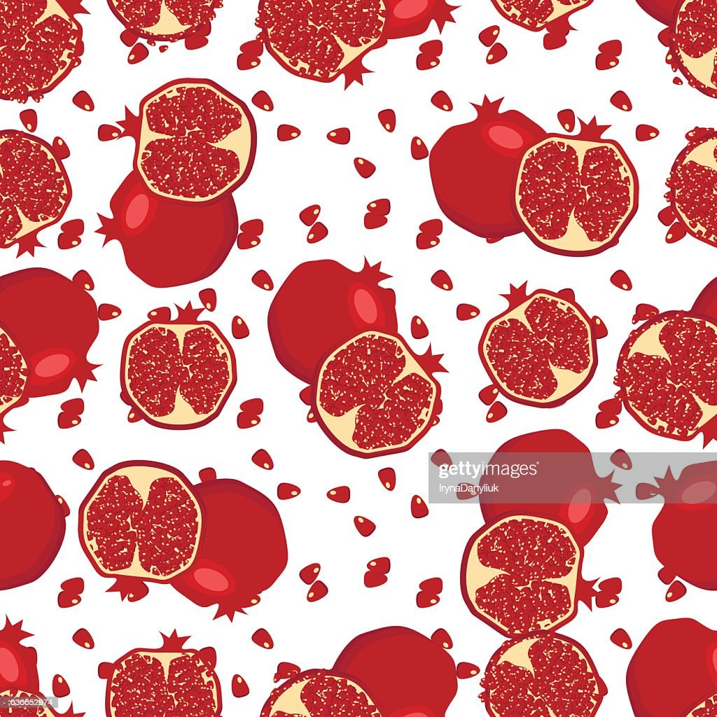 Red fresh pomegranate pattern vector.