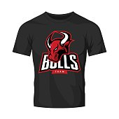 Red furious bull sport vector logo concept isolated on black t-shirt mockup