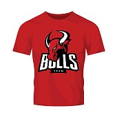 Red furious bull sport vector logo concept isolated on red t-shirt mockup