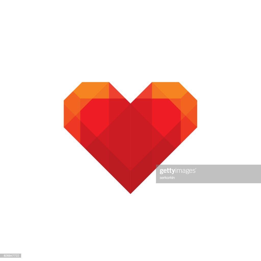 Rotes Geometrische Herz Symbol Vorlage Konzept Vektorgrafik ...