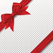Red gift bow and ribbon, isolated on background.