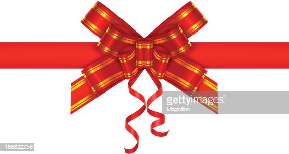 Red gift bow vector art getty images negle Image collections