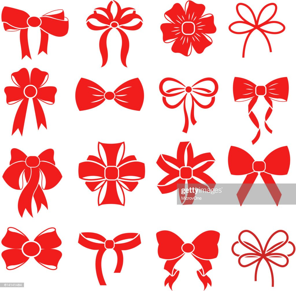 Red gift bow vector silhouettes for decoration
