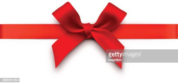 red gift bow with ribbon - tied bow stock illustrations