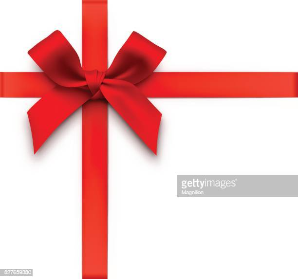 red gift bow with ribbons - tied bow stock illustrations