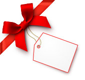 Red Gift Bow with Tag